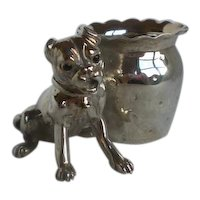 Rare Victorian Derby Silver Plate Figural Dog Toothpick Holder