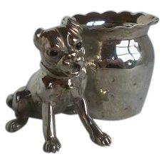 Rare Victorian Silverplate Figural Dog Toothpick Holder
