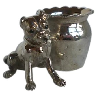 Rare Victorian Silverplate Figural Dog Toothpick Holder