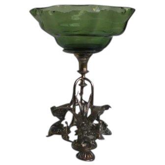 Rare Victorian Glass Figural Bird Silverplate Centerpiece Bride's Basket