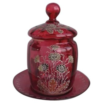 Rare Victorian Cranberry Gold-Leaf Enameled Glass Jar