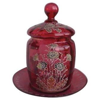 Rare Victorian Cranberry Gold-Leaf Enameled Glass Jar