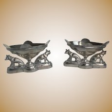 Pair of Victorian Open Salt Silverplate Figural Wolf Dog Meriden