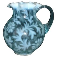 Daisy and Fern Opalescent Glass Pitcher LG Wright