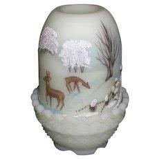Fenton Fairy Lamp Satin Glass Hand Enameled Deer