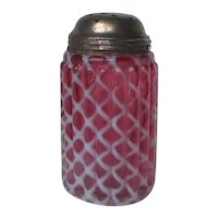 Victorian Opalescent Cranberry Glass Sugar Shaker Hobbs