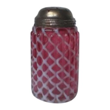 Victorian Opalescent Cranberry Glass Sugar Shaker Hobbs
