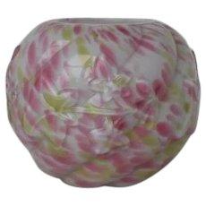 Northwood Victorian Rainbow Spatter Glass Rose Bowl