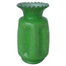 Fenton Art Glass Vase Green Overlay