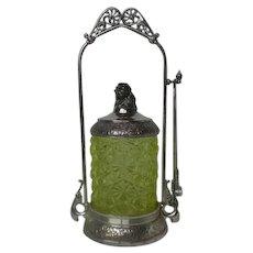 Victorian Vaseline Glass Pickle Castor Figural Meriden Silver Plate