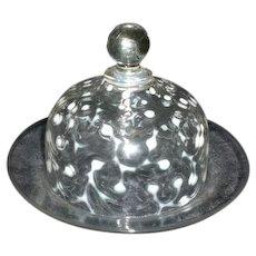 Victorian Opalescent Art Glass Covered Butter Hobbs