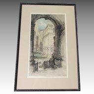 Luigi KASIMIR pencil signed etching aquatint of NYC Bowling Green.