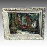 George SCHWACHA   Modernist dock scene oil on board LISTED