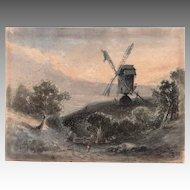 James SMILLIE (1807-1885) Gouache on paper of Dutch landscape