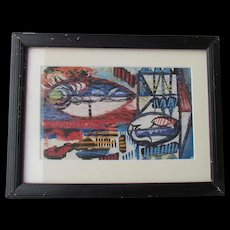 Erle LORAN abstract painting gouache and oil stick LISTED