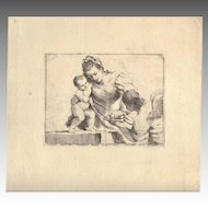 Old Master engraving Giovanni Battista Pasqualini 1620 Mother and Child ~ Cupid