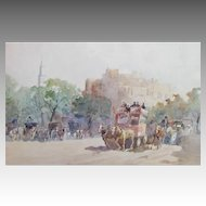 Gino SCALATELLI  (1870-1920) Listed Italian painter ~ Horse drawn carriage in the square