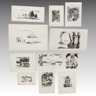 HANS ALEXANDER MUELLER ~ HUGE collection of 70 DIFFERENT pencil signed woodcuts