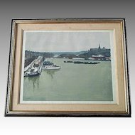 Albert MARQUET  pencil signed large harbor aquatint