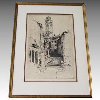 Jan (John ) C. VONDROUS pencil signed etching of Forari Italy
