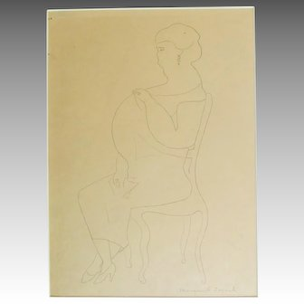 Grand Dame, pencil drawing signed Marguerite ZORACH listed