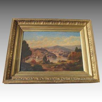 Hudson River oil c 1850 titled A CATSKILL SCENE well done