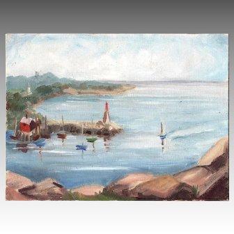 ROCKPORT HARBOR 1961 oil on board signed BOUVIER