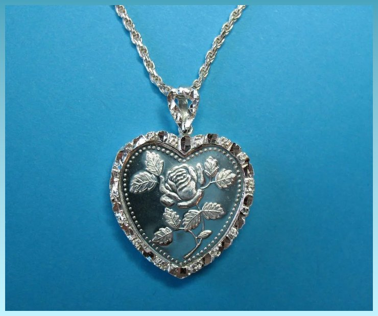 Vintage silver nugget frame half troy ounce heart pendant charm vintage silver nugget frame half troy ounce heart pendant charm necklace aloadofball Gallery