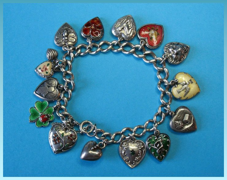 Vintage Sterling Silver Puffy Heart Charm Bracelet Rare Charms