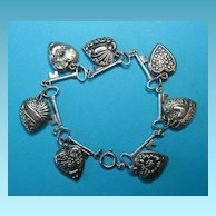 Vintage Sterling Silver Puffy Heart Charms & Key Bracelet - 1940s