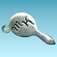 Vintage Silver Vanity Hand Mirror Charm Mono MK