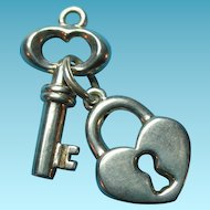 Vintage Silver Puffy Key & Heart Padlock Charm