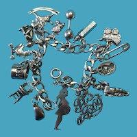 Vintage Sterling Silver Baby Boy Theme Charm Bracelet #1
