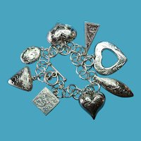 Vintage Sterling Silver Etched Puffy Charm Bracelet