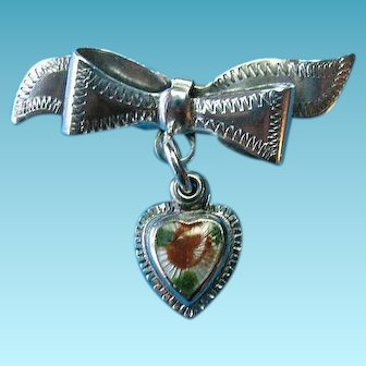 Vintage Sterling Enamel Guilloche Heart Pendant Brooch Pin