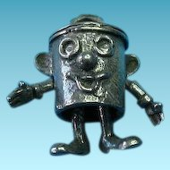 Vintage English Silver Articulated Dusty Bin Charm