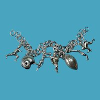 Vintage Sterling Silver Football Themed Charm Bracelet