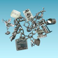 Vintage Sterling Silver Themed Baby Charm Bracelet #2