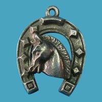 Vintage Rare European German 835 Silver Lucky Horse & Shoe Charm