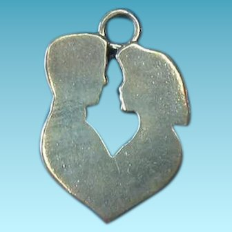 Vintage Sterling Man & Woman Heart Silhouette Charm
