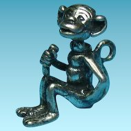 Vintage Sterling Silver Monkey Eating A Banana Charm