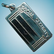 Vintage Sterling Silver BEAU Social Security Card Charm
