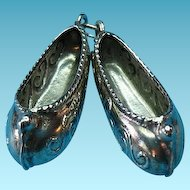 Vintage Sterling Silver Pom Pom Slippers