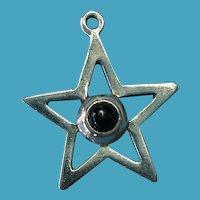 Vintage Sterling Silver Black Onyx Star Charm