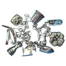 Vintage Sterling Silver Sewing Theme Charm Bracelet