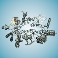Vintage Sterling Silver Baby Boy Themed Charm Bracelet