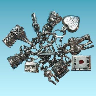 Vintage Sterling Silver Love Wedding Bride & Groom Theme Charm Bracelet