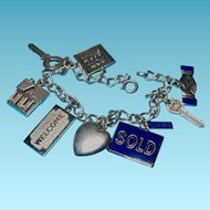 Vintage Sterling Silver Realtor Themed Charms - Bracelet is 800 Silver