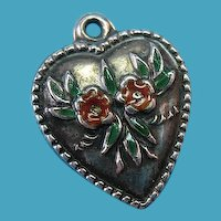 """Vintage Sterling Silver 1940s Glass Enamel """"Forget Me Not"""" Floral Puffy Heart Charm"""
