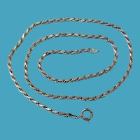 "Vintage Sterling Silver Thick 18"" Necklace 3mm Chain"